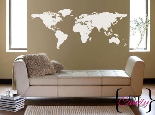Wall Decals – World Map Vinyl Wall Art Sticker Decal Vinyl Interior Regarding Wall Art Stickers World Map (Image 16 of 25)