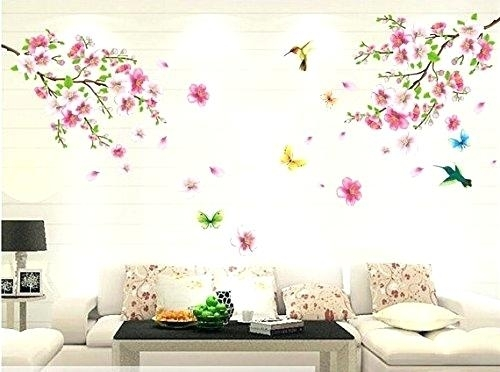 Wall Decor Flowers Autumn Awesome Stickers Good Life Pink Cherry throughout Floral Wall Art