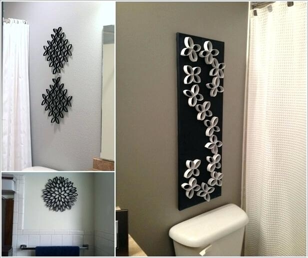 Wall Decor For Bathroom Create A Unique Wall Art With Paper Roll Regarding Unique Wall Art (Image 9 of 10)