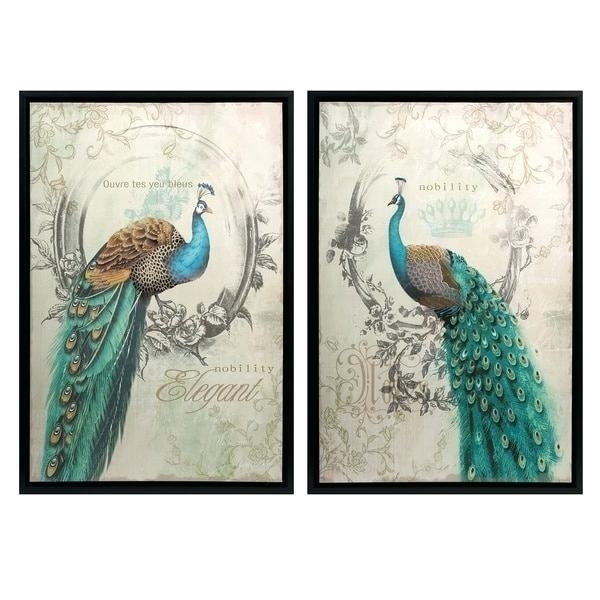 Wall Decor Sets Panache Peacock Wall Art Set Of 2 Framed Wall Decor Pertaining To Set Of 2 Framed Wall Art (Image 25 of 25)