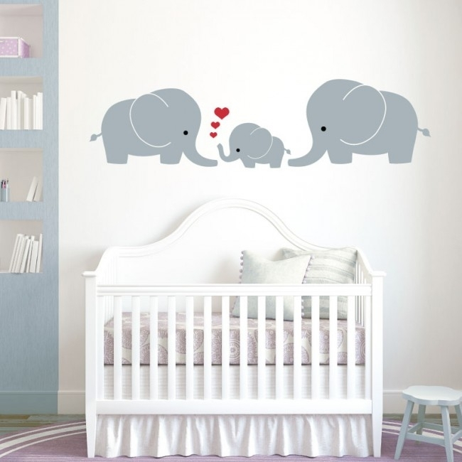 Wall Designer | Elephant Family, Mum, Dad, Baby – Baby Nursery Wall Within Baby Room Wall Art (Image 20 of 20)