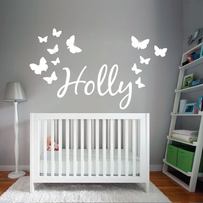 Wall Designer | Personalised Name Wall Art Sticker With Butterflies Intended For Name Wall Art (View 9 of 25)