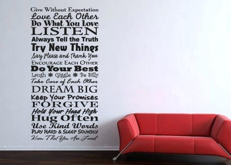 Wall Of Words Words Curtain Wall Stickers Stylish Wall Art Stickers Inside Word Wall Art (View 7 of 20)