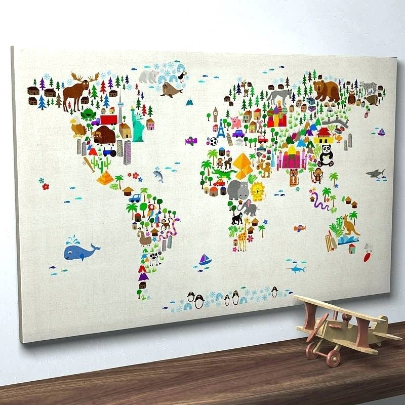Wall World Map Kids Cartoon Map Of The World Wall Art World Map With Map Of The World Wall Art (View 13 of 25)