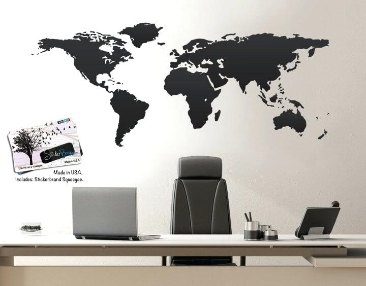 Wall World Map Kids Cartoon Map Of The World Wall Art World Map With Regard To Wall Art World Map (Image 19 of 25)