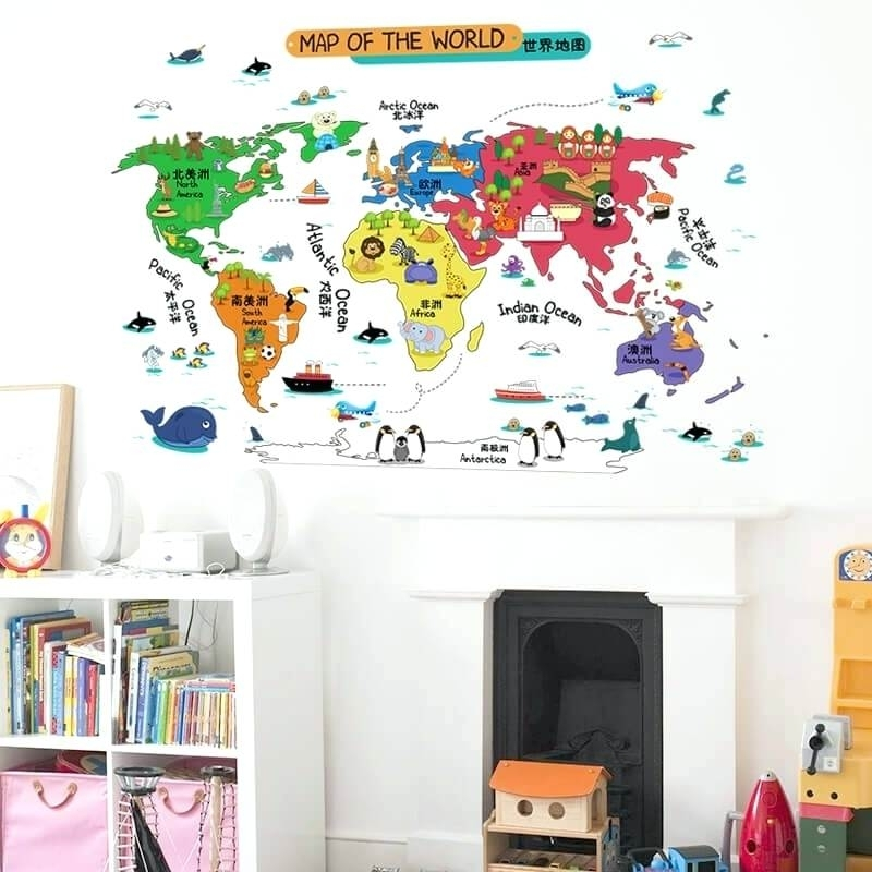Wall World Map World Map Wall Sticker Illustrated Home Decor Vinyl Within Wall Art Stickers World Map (Image 17 of 25)