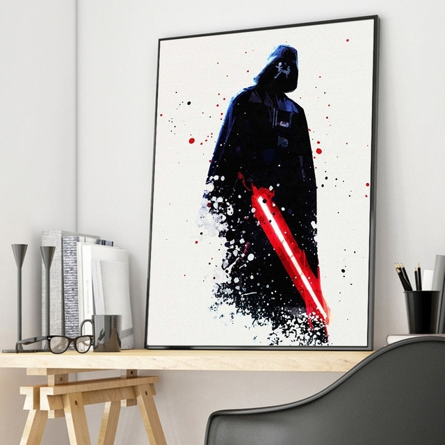 Watercolor Darth Vader Star Wars Canvas Posters Movie Prints Wall Throughout Darth Vader Wall Art (Image 25 of 25)