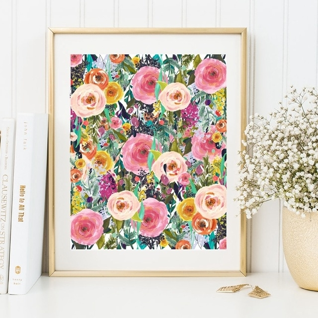 Watercolor Flower Canvas Painting Colourful Picture Wall Art Home Inside Floral Wall Art (View 4 of 20)
