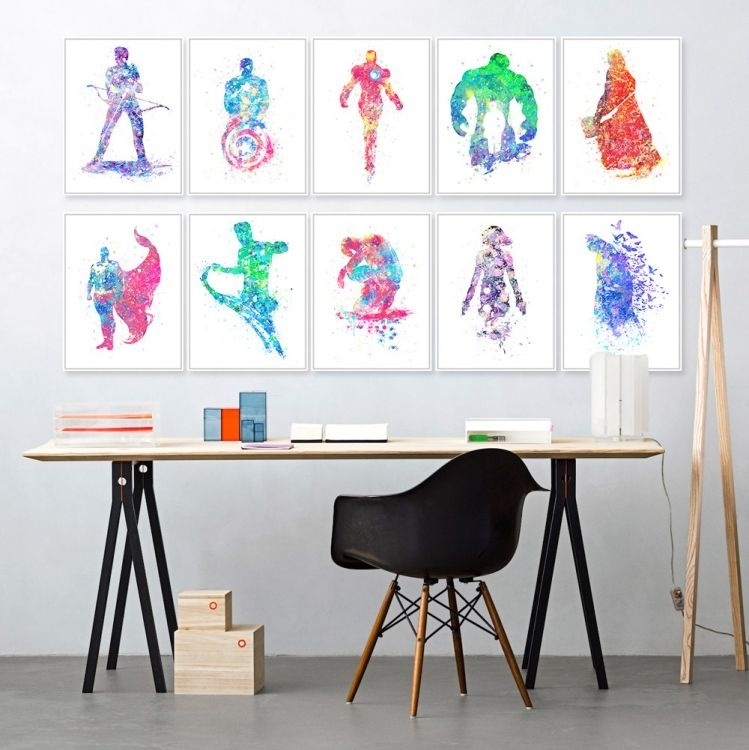 Watercolor / Monochrome Superhero Wall Art | Cratemill Regarding Superhero Wall Art (Image 20 of 20)