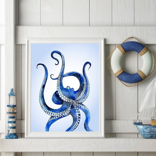 Watercolor Ocean Octopus Art Print Pictures , Modern Ocean Animal With Octopus Wall Art (View 4 of 20)