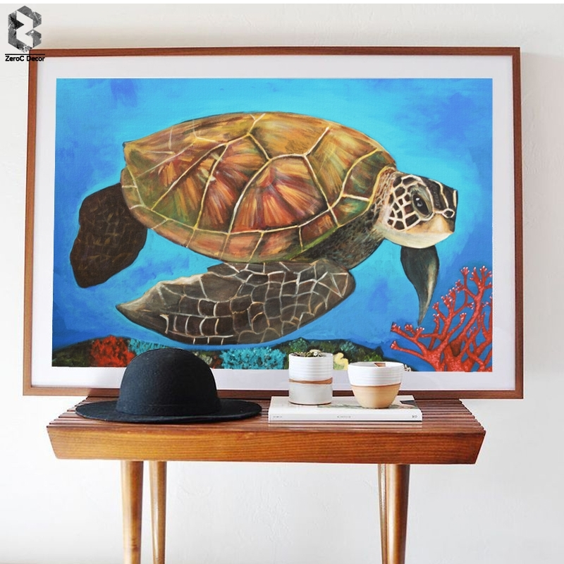 Watercolor Sea Turtle Wall Art Prints And Posters Canvas Painting With Regard To Sea Turtle Canvas Wall Art (View 6 of 25)
