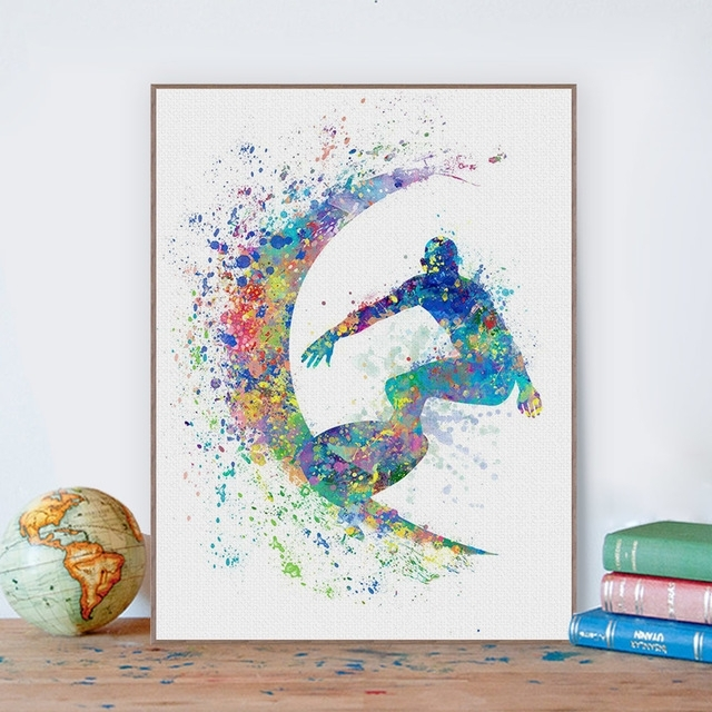 Watercolor Surfing Beach Sports Wall Art Pictures For Living Room With Sports Wall Art (Image 25 of 25)