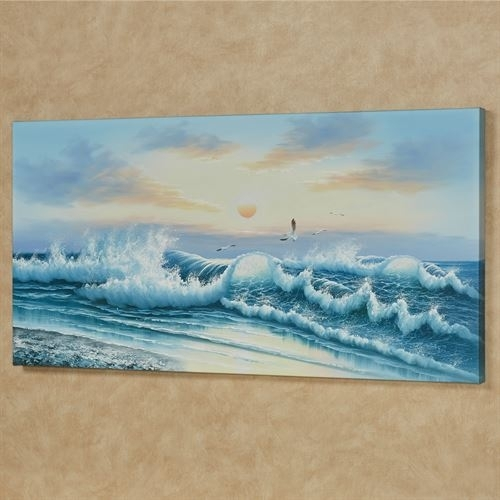 Wave Of Wonder Ii Handpainted Ocean Canvas Wall Art Inside Ocean Wall Art (Image 25 of 25)