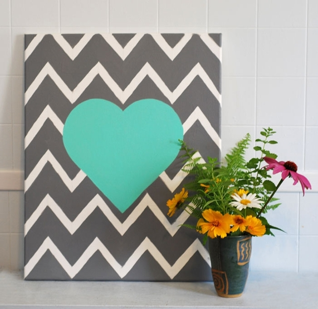 Wedding Projects: Diy Chevron Wall Art Heart With Chevron Wall Art (Image 23 of 25)
