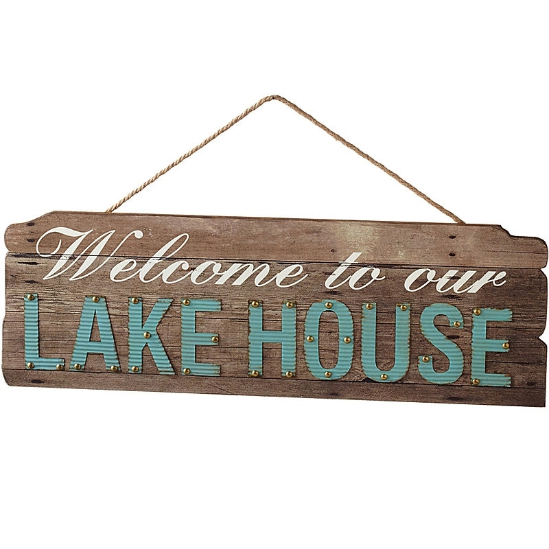 Welcome To Our Lake House Wall Art | Everything Turquoise In Lake House Wall Art (Image 7 of 10)