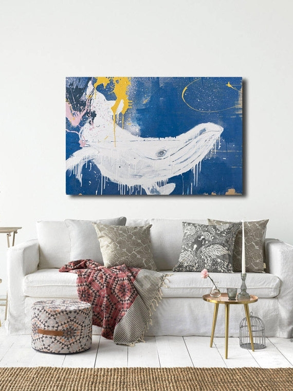 Whale Canvas Wall Art, Whale Gifts, Whale Art Print, Large Wall Art Within Whale Canvas Wall Art (View 20 of 25)