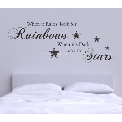 When It Rains Look For Rainbows Quote Wall Art Sticker – Sticker Station In Quote Wall Art (Image 25 of 25)