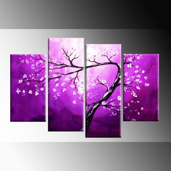 White Blossom On Purple Winding Blossom Tree Painting Canvas Wall For Modern Painting Canvas Wall Art (View 24 of 25)