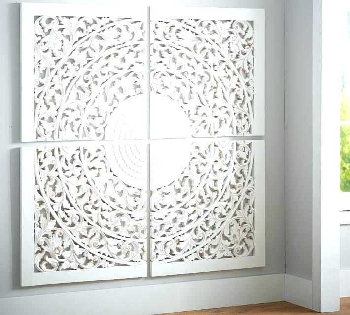 White Carved Wall Decor Whitewashed Wood Wall Art Wood Medallion Inside Medallion Wall Art (View 2 of 25)