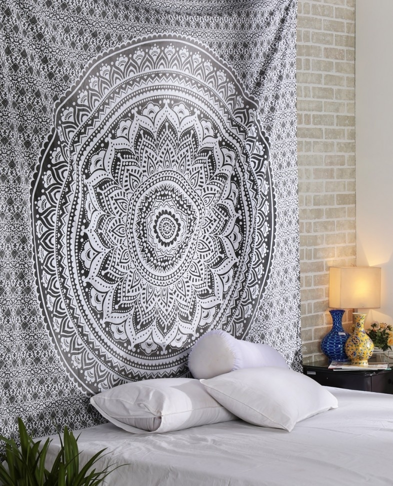 White Gray Ombre Tapestry And Bohemian Ombre Mandala Bedding – Rajrang For Mandala Wall Art (Image 24 of 25)