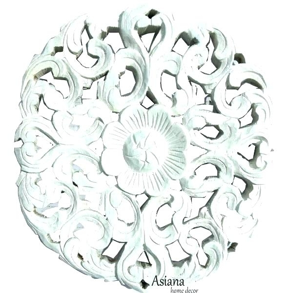 White Wood Wall Decor White Carved Wall Decor White Wood Wall Art Throughout Round Wall Art (Image 24 of 25)