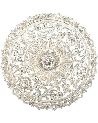 Whitewashed Wall Decor Round Wall Art Round Wall Decor 9 Carved Pertaining To Round Wall Art (Image 25 of 25)