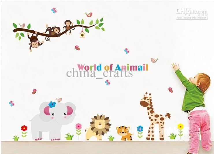 Wholesale Removable Kids Wall Stickers World Of Animals Wall Art Inside Kids Wall Art (View 6 of 10)
