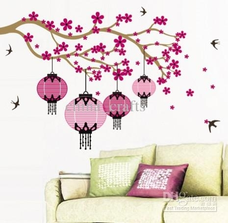 Wholesale Removable Large Blooming Flowers Wall Stickers Living Room Pertaining To Flower Wall Art (Image 20 of 20)