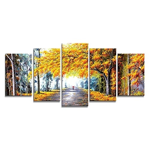 Wieco Art – Autumn Love Modern Framed Giclee Canvas Prints 5 Panels Pertaining To Modern Framed Wall Art Canvas (View 8 of 25)