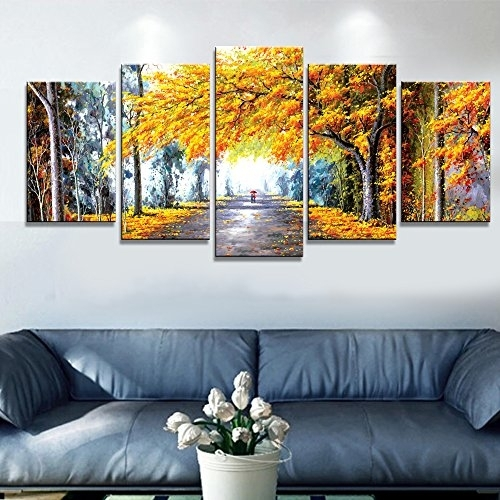 Wieco Art – Autumn Love Modern Framed Giclee Canvas Prints 5 Panels Within Modern Framed Wall Art Canvas (View 2 of 25)