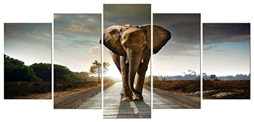 Wieco Art Elephant Canvas Prints Wall Art Animals Pictures To Photo Inside Elephant Canvas Wall Art (View 15 of 20)