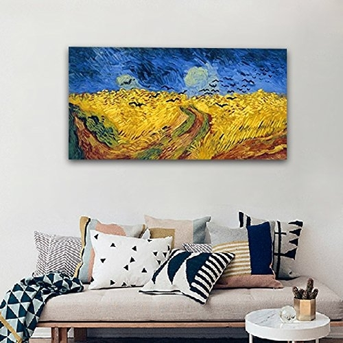 Wieco Art – Wheatfield With Crows Large Modern Framed Giclee Canvas Intended For Modern Framed Wall Art Canvas (View 13 of 25)