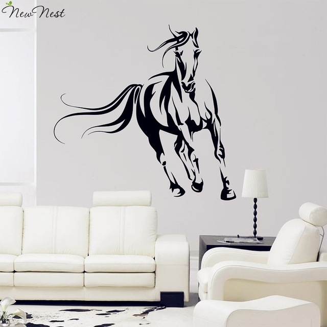 Wild Horse Wall Decal Vinyl Stickers, Animals Mural, Horse Running For Horse Wall Art (Image 9 of 10)