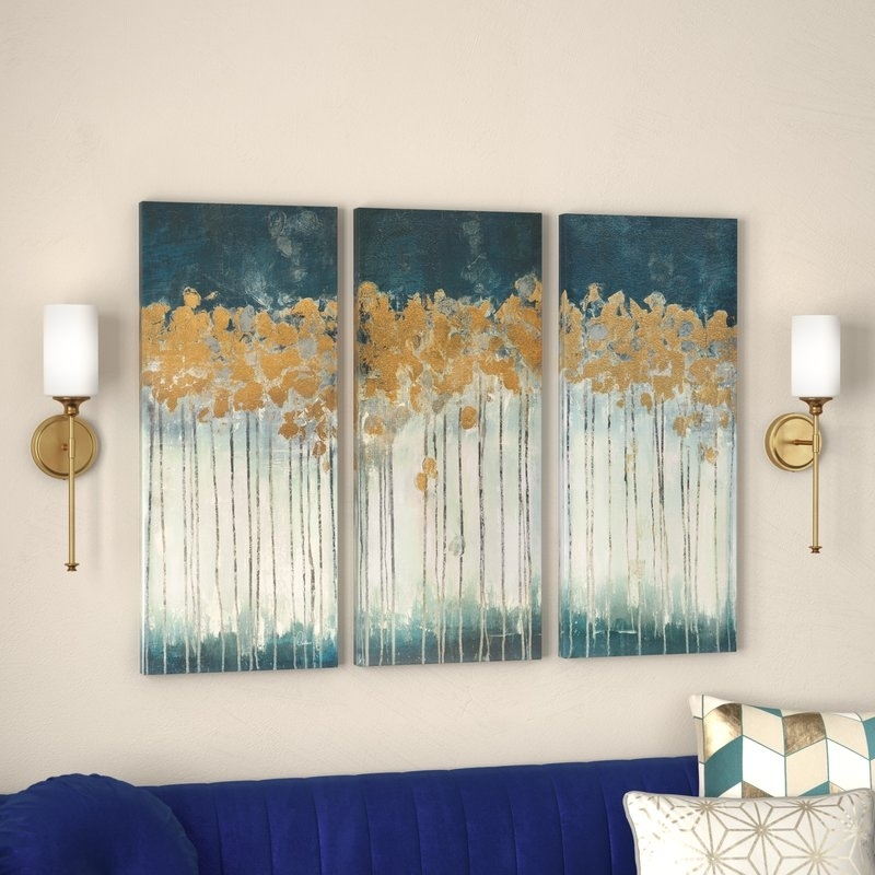 Willa Arlo Interiors 'midnight Forest' Gel Coat Canvas Wall Art With In Gold Foil Wall Art (Image 24 of 25)