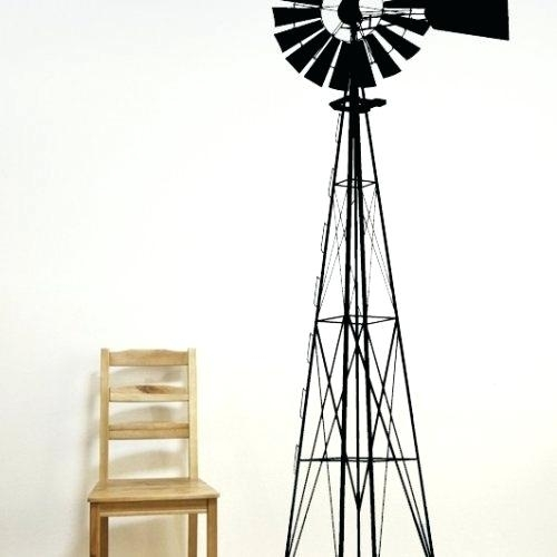Windmill Wall Art Windmill Power Windy Blowing Decal Vinyl Sticker Inside Windmill Wall Art (Image 18 of 20)