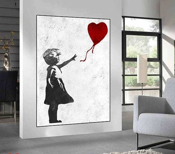 Wonderful Extra Large Wall Art Banksy Red Balloon Girl Large Regarding Extra Large Wall Art (View 14 of 20)