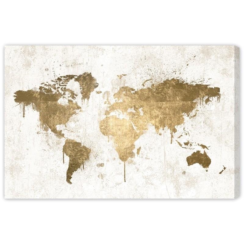 Wonderful White Gold Mapamundi Canvas Wall Art Rosenberryrooms For Gold Wall Art (View 8 of 10)