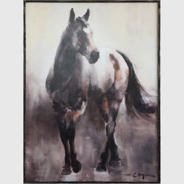 Wood Framed Canvas Horse Wall Art | Antique Farmhouse Pertaining To Horse Wall Art (Image 10 of 10)