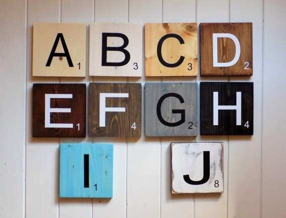 Wood Letter Art Wall Decor Inspirational Scrabble Tiles Scrabble For Scrabble Wall Art (Image 24 of 25)