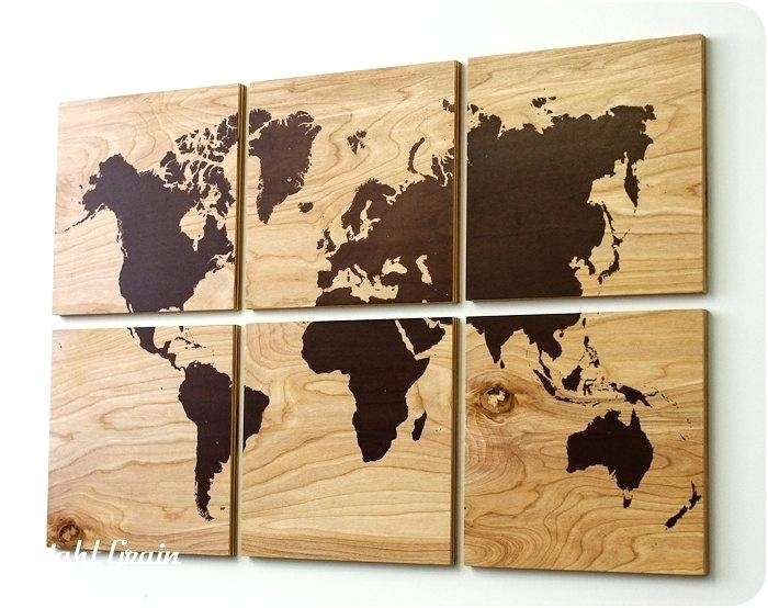 Wood Map Wall Art Wood Grain World Map Screen Print Large Wall Art With Regard To Diy World Map Wall Art (Image 24 of 25)