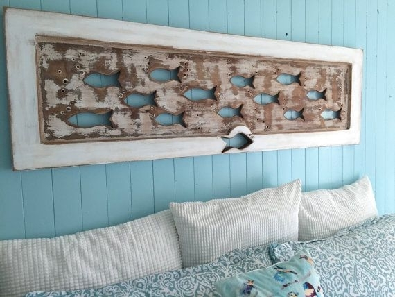 Wood School Of Fish Wall Art Headboard Queen Size Sign Driftwood For With Regard To Lake House Wall Art (View 1 of 10)