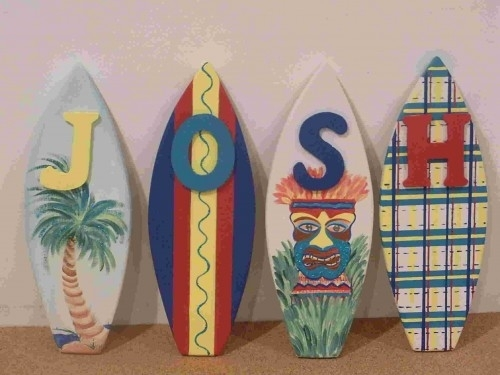 Wood Surfboard Wall Letter Art Hand Painted Personalized Within Surfboard Wall Art (Image 24 of 25)