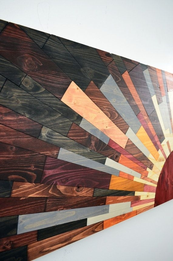 """Wood Wall Art """"60X20 Edge Of The Day"""" – Wooden Wall Art, Wood Art Within Diy Wood Wall Art (Image 21 of 25)"""