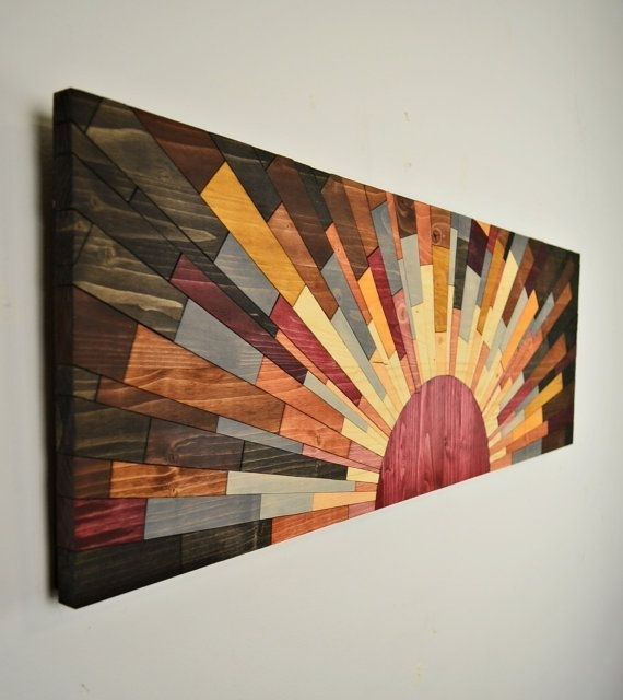"""Wood Wall Art – """"edge Of The Day"""" – Wall Art Handcraftedjeremy In Wood Art Wall (View 2 of 20)"""