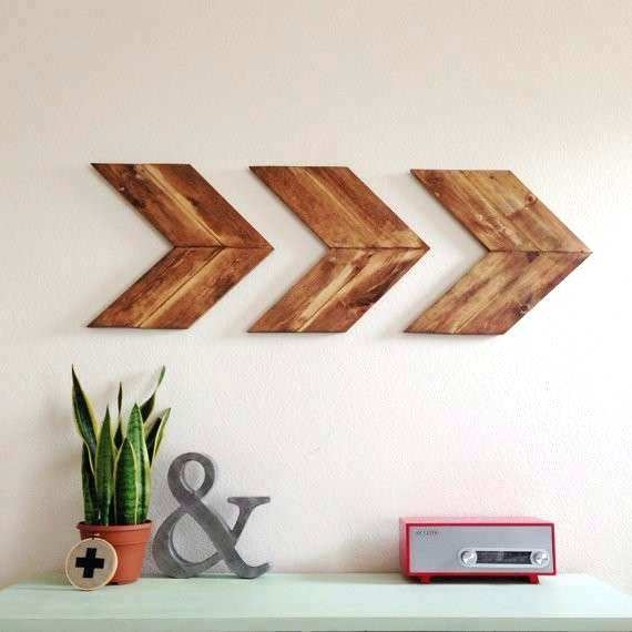 Wooden Arrow Wall Decor Set Of 4 Small Od Chevron Arrows Od Arrow For Arrow Wall Art (Image 20 of 20)