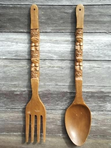 Wooden Fork And Spoon Wall Decor Giant Fork Spoon Retro Vintage Inside Fork And Spoon Wall Art (Image 24 of 25)