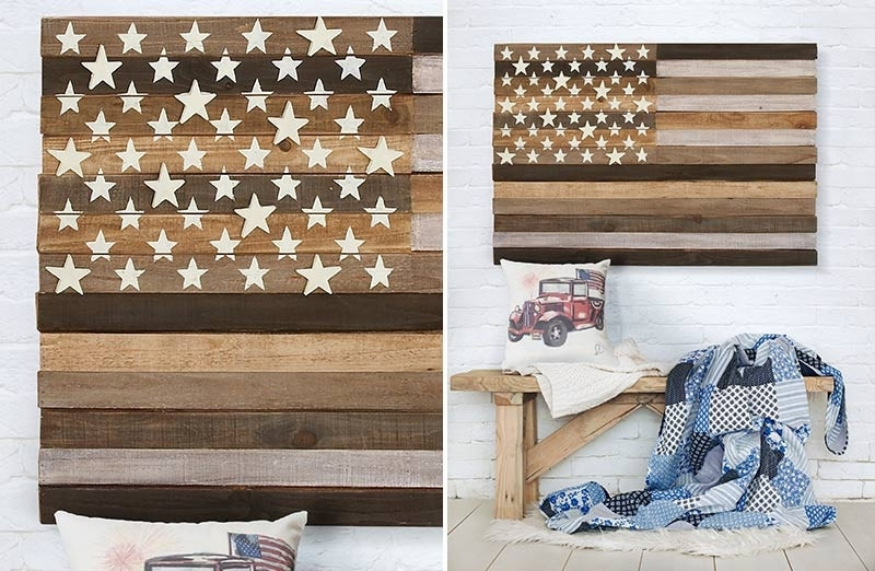 Wooden Wall Flag, Wood Wall Flag, Rustic Wooden American Flag Throughout Wooden American Flag Wall Art (Image 25 of 25)