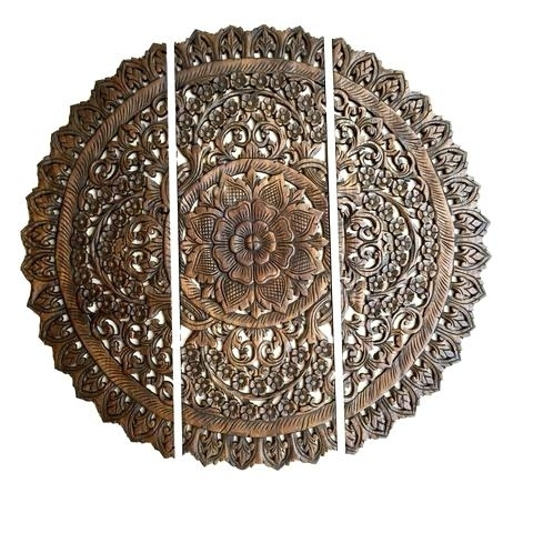 Wooden Wall Medallion Elegant Medallion Wood Carved Wall Plaque Pertaining To Round Wood Wall Art (View 4 of 10)