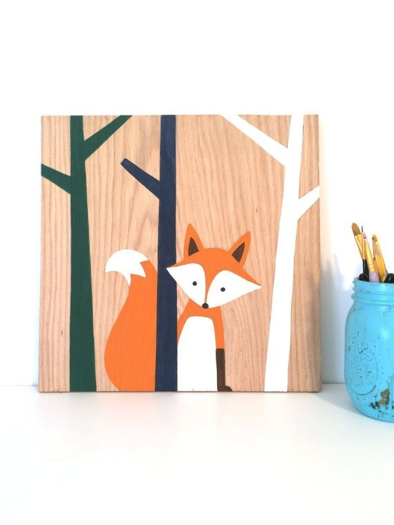 Woodland Nursery Art – Fox Nursery – Fox Art – Forest Animals Throughout Woodland Nursery Wall Art (View 17 of 25)