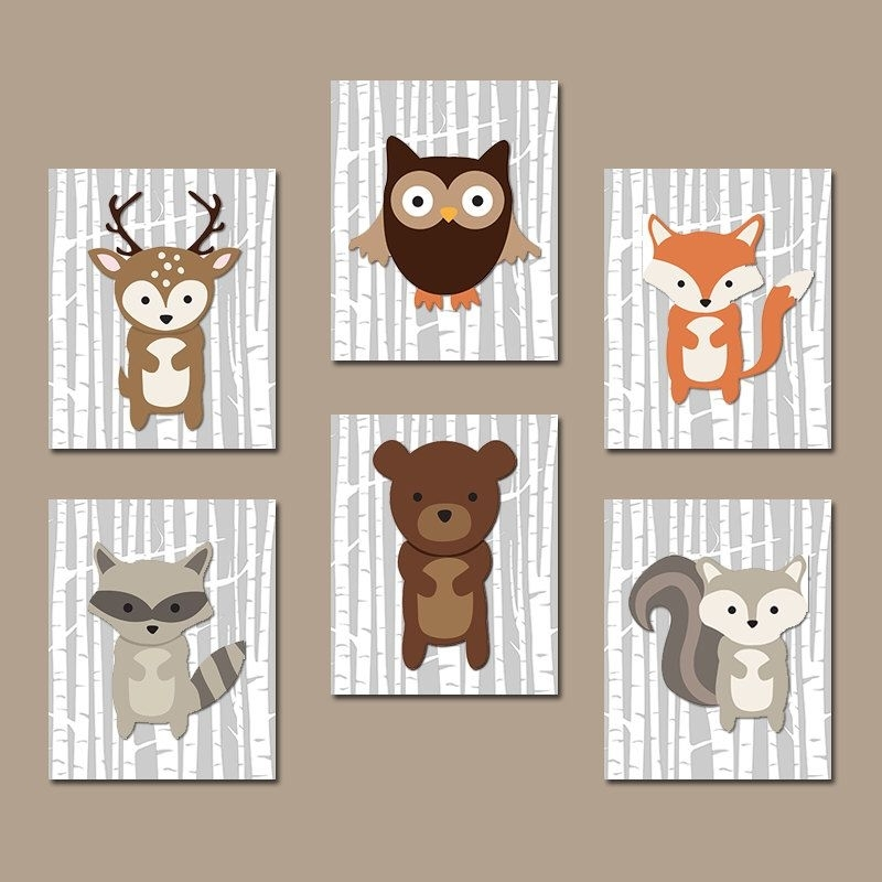 Woodland Nursery Art, Woodland Nursery Decor, Wood Forest Animals Intended For Woodland Nursery Wall Art (View 3 of 25)